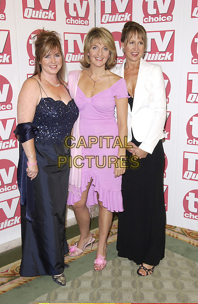 COLLEEN NOLAN, KAYE ADAMS & CAROL MCGRIFFIN.Arriving at the TV Quick & TV Choice Awards,.Dorchester Hotel, Park Lane,.London, 5th September 2005.full length loose women navy pink dress white jacket satin.Ref: FIN.www.capitalpictures.com.sales@capitalpictures.com.© Capital Pictures.