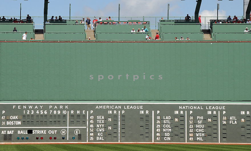 A view of the Green Monster, the left field wall of Fenway Park in Boston, MA, during a game between the Boston Red Sox and the Oakland A's on July 30, 2009. (AP Photo/Chris Bernacchi)