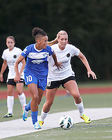 Boston Breakers forward Lianne Sanderson (10) looks to pass as Portland Thorns FC midfielder Allie Long (10) defends. In a National Women's Soccer League (NWSL) match, Boston Breakers (blue) defeated Portland Thorns FC (white/black), 2-1, at Dilboy Stadium on August 7, 2013.