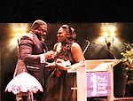 Singer - Broadway Phillip Boykin presents award to Danielle Brooks - 72nd Annual Theatre World Awards hosted by Peter Filichia at Circle in the Square Theatre on May 23, 1916 in New York City, New York. (Photo by Sue Coflin/Max Photos)