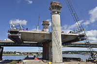 Pearl Harbor Memorial Bridge, New Haven Harbor Crossing Corridor, Interstate 95 in CT. Construction of Connecticut Department of Transportation Contract B as seen on September 9, 2011. New Northbound Span, Progress of the Replacement Bridge. When complete this will be the first Extradosed Bridge in the United States. This view includes Traveling Formwork and West Towers.