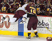 Anthony Aiello, Mark Bomersback - The Boston College Eagles and Ferris State Bulldogs tied at 3 in the opening game of the Denver Cup on Friday, December 30, 2005, at Magness Arena in Denver, Colorado.  Boston College won the shootout to determine which team would advance to the Final.