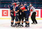 Stockholm 2015-09-04 Ishockey CHL Djurg&aring;rdens IF - EV Zug :  <br /> Djurg&aring;rdens Alexander F&auml;llstr&ouml;m gratuleras av lagkamrater Marcus H&ouml;gstr&ouml;m , Henrik Eriksson och Robin Alvarez efter sitt 4-2 m&aring;l under matchen mellan Djurg&aring;rdens IF och EV Zug <br /> (Foto: Kenta J&ouml;nsson) Nyckelord:  Ishockey Hockey CHL Hovet Johanneshovs Isstadion Djurg&aring;rden DIF Zug jubel gl&auml;dje lycka glad happy