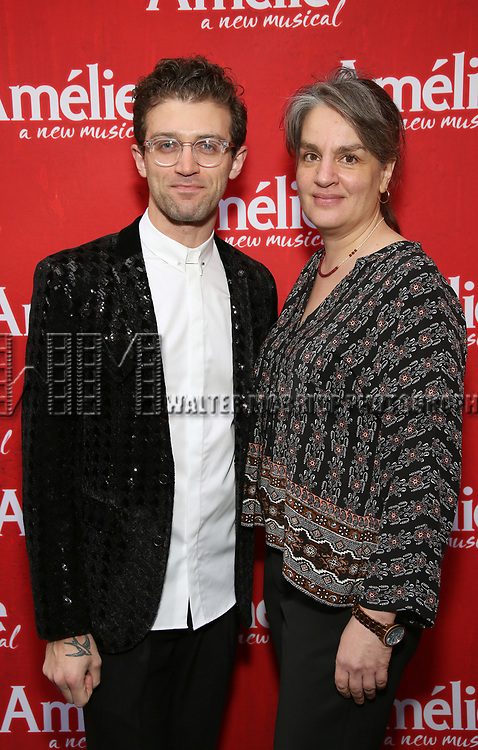 Sam Pinkleton and Pam MacKinnon attends the Broadway Opening Night performance of 'Amelie' at the Walter Kerr Theatre on April 3, 2017 in New York City