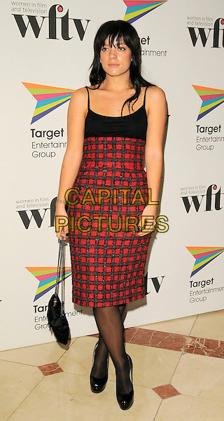 LILY ALLEN .The Target Women In Film And TV Awards - Inside Arrivals, London Hilton Hotel, Park Lane, .London, England, December 5th 2008..full length black and red vest top high waisted skirt dress shoes heels bag tights check checked plaid platforms .CAP/CAN.©Can Nguyen/Capital Pictures