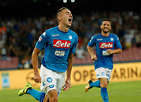 Marko Rog celebrates after scoring during the  italian serie a soccer match,between SSC Napoli and Atalanta      at  the San  Paolo   stadium in Naples  Italy , August 27, 2017