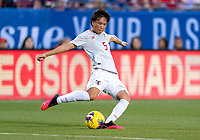 FRISCO, TX - MARCH 11: Moeka Minami #5 of Japan passes the ball during a game between Japan and USWNT at Toyota Stadium on March 11, 2020 in Frisco, Texas.