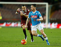 Napoli's Mirko Valdifiori during the  italian serie a soccer match,between SSC Napoli and Torino      at  the San  Paolo   stadium in Naples  Italy , January 07, 2016