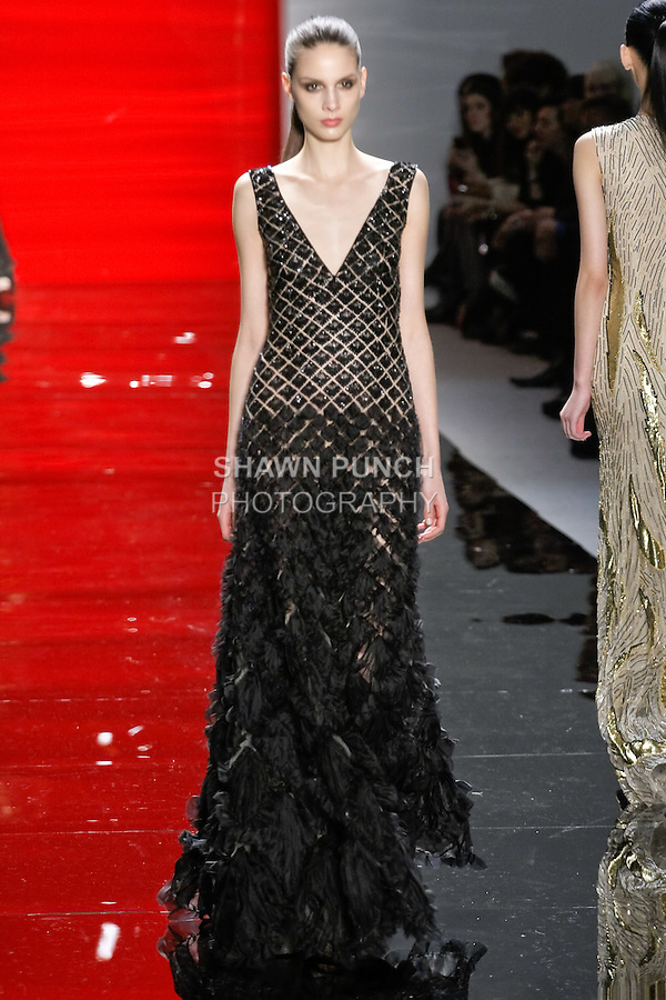Brenda walks runway in a ebony Diamond embroidered silk chiffon gown, from the Reem Acra Fall 2012 Feminine Power collection fashion show, during Mercedes-Benz Fashion Week New York Fall 2012 at Lincoln Center.
