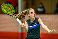 Wateringen, The Netherlands, December 8,  2019, De Rhijenhof , NOJK juniors 14 and18 years, Finals  girls 14 years  Annelin Bakker (NED)	<br /> <br /> Photo: www.tennisimages.com/Henk Koster