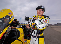 Oct 30, 2016; Las Vegas, NV, USA; NHRA top fuel driver Leah Pritchett during the Toyota Nationals at The Strip at Las Vegas Motor Speedway. Mandatory Credit: Mark J. Rebilas-USA TODAY Sports