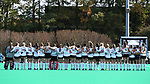 DURHAM, NC - NOVEMBER 11: Miami players link arms during the playing of the national anthem. The Duke University Blue Devils hosted the Miami University (Ohio) Redhawks on November 11, 2017 at Jack Katz Stadium in Durham, NC in an NCAA Division I Field Hockey Tournament First Round game. Duke won the game 4-2.