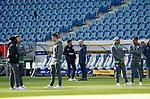 15.02.2020, PreZero-Arena, Sinsheim, GER, 1.FBL, TSG 1899 Hoffenheim vs VfL Wolfsburg , <br />DFL  regulations prohibit any use of photographs as image sequences and/or quasi-video.<br />im Bild<br />Trainer Alfred Schreuder (Hoffenheim) unterhält sich mit seinem Kollegen Trainer Oliver Glasner (Wolfsburg) vor dem Spiel auf dem Spielfeld.<br /> <br /> Foto © nordphoto / Bratic