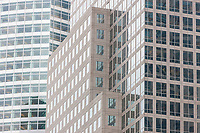 Contrasting building facades and reflections on buildings in New York City
