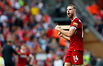 Liverpool's Jordan Henderson reacts after the premier league match at Anfield Stadium, Liverpool. Picture date 27th August 2017. Picture credit should read: Paul Thomas/Sportimage
