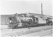 3/4 fireman side view of K-36 #486 parked at roundhouse.<br /> D&amp;RGW  Chama, NM