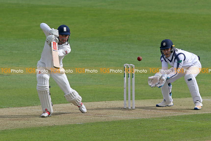 Alastair Cook in batting action for Essex as Lewis McManus looks on from behind the stumps during Essex CCC vs Hampshire CCC, Specsavers County Championship Division 1 Cricket at The Cloudfm County Ground on 19th May 2017