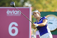 Jenny Shin (KOR) tees off the 6th tee during Thursday's Round 1 of The Evian Championship 2018, held at the Evian Resort Golf Club, Evian-les-Bains, France. 13th September 2018.<br /> Picture: Eoin Clarke | Golffile<br /> <br /> <br /> All photos usage must carry mandatory copyright credit (&copy; Golffile | Eoin Clarke)