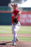 April 14, 2010:  Pitcher Adam Mills of the Pawtucket Red Sox delivers a pitch during a game at Coca-Cola Field in Buffalo, New York.  Pawtucket is the Triple-A International League affiliate of the Boston Red Sox.  Photo By Mike Janes/Four Seam Images