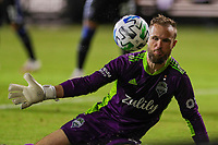 10th July 2020, Orlando, Florida, USA;  Seattle Sounders goalkeeper Stefan Frei (24) stops the ball during the soccer match between the Seattle Sounders and the San Jose Earthquakes on July 10, 2020, at ESPN Wide World of Sports Complex in Orlando, FL.
