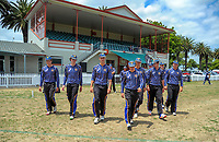 The CBHS team ewalks out for the second innings of the Secondary School Boys' First XI Cup national cricket finals match between Christchurch Boys' High School and Palmerston North Boys' High School at Fitzherbert Park in Palmerston North, New Zealand on Friday, 8 December 2017. Photo: Dave Lintott / lintottphoto.co.nz