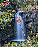 The upper waterfall at Pua'a Ka'a State Wayside Park, located near the Mile 22 marker on the Hana Highway, Maui