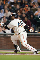 17 April 2009: San Francisco Giants' third base Pablo Sandoval singles during the San Francisco Giants' 2-0 win against the Arizona Diamondbacks at AT&T Park in San Francisco, CA.