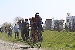 The peloton including Jean-Pierre Drucker (LUX) BMC Racing Team on pave sector 17 Hornaing a Windignies during the 115th edition of the Paris-Roubaix 2017 race running 257km Compiegne to Roubaix, France. 9th April 2017.<br /> Picture: Eoin Clarke | Cyclefile<br /> <br /> <br /> All photos usage must carry mandatory copyright credit (&copy; Cyclefile | Eoin Clarke)