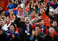 Serbia fans celebrate the first goal during the FIFA Under-20 Football World Cup Final between Brazil (gold) and Serbia at North Harbour Stadium, Albany, New Zealand on Saturday, 20 June 2015. Photo: Dave Lintott / lintottphoto.co.nz