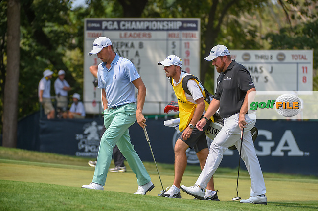 Justin Thomas (USA) and Shane Lowry (IRL) approach the green on 9 during 4th round of the 100th PGA Championship at Bellerive Country Club, St. Louis, Missouri. 8/12/2018.<br /> Picture: Golffile | Ken Murray<br /> <br /> All photo usage must carry mandatory copyright credit (© Golffile | Ken Murray)