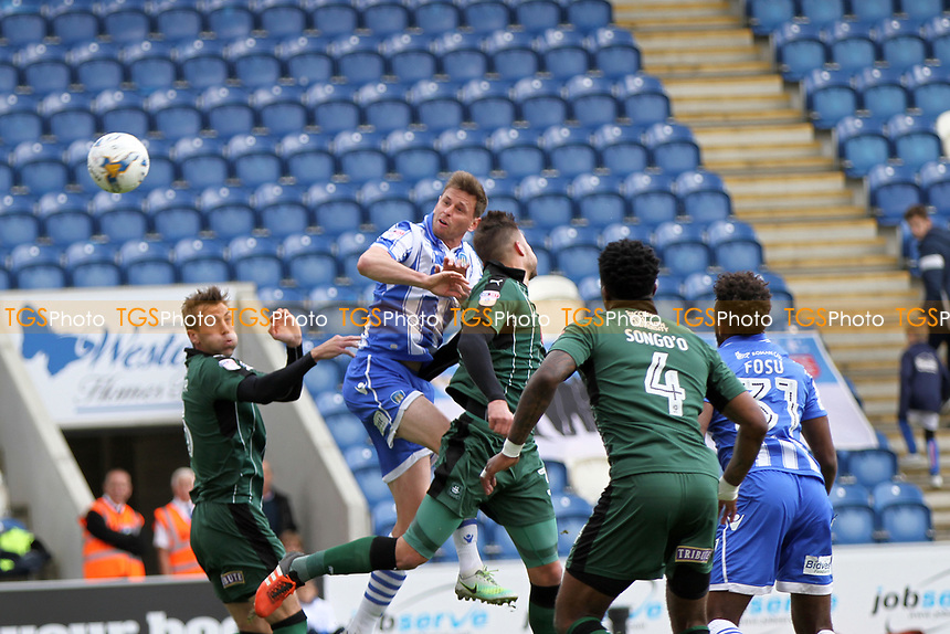 Chris Porter of Colchester United has for goal during Colchester United vs Plymouth Argyle, Sky Bet EFL League 2 Football at the Weston Homes Community Stadium on 22nd April 2017