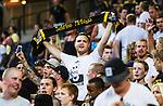 Solna 2014-07-24 Fotboll Europa League AIK - Linfield FC :  <br /> AIK supporter med en halsduk<br /> (Foto: Kenta J&ouml;nsson) Nyckelord:  AIK Gnaget Friends Arena Linfield LFC Europa League Kval supporter fans publik supporters