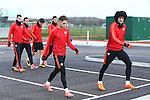 Adnan Januzaj and Marouane Fellaini of Manchester United during the UEFA Europa League training at the AON Carrington training complex. Photo credit should read: Philip Oldham/Sportimage