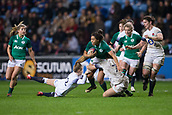16th March 2018, Ricoh Arena, Coventry, England; Womens Six Nations Rugby, England Women versus Ireland Women; Sene Naoupu of Ireland is tackled by Zoe Harrison of England
