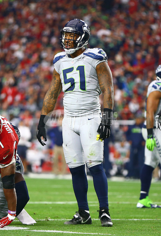 Jan 3, 2016; Glendale, AZ, USA; Seattle Seahawks linebacker Bruce Irvin (51) against the Arizona Cardinals at University of Phoenix Stadium. Mandatory Credit: Mark J. Rebilas-USA TODAY Sports