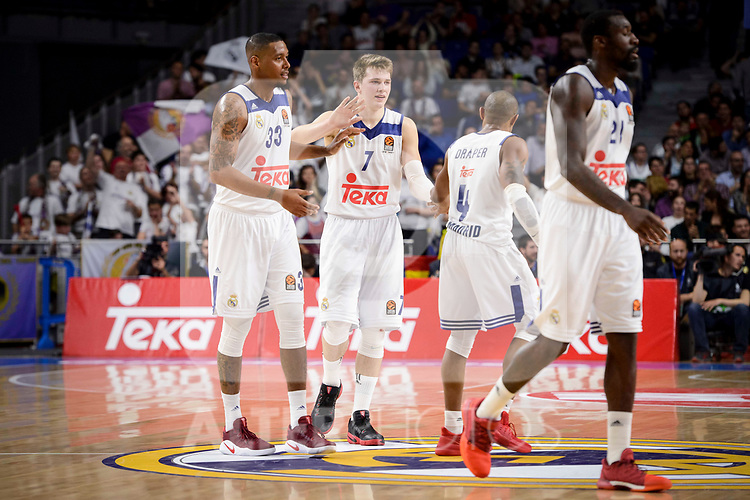 Real Madrid's Trey Thompkins, Luka Doncic, Dontaye Draper and Othello Hunter during Turkish Airlines Euroleague match between Real Madrid and Anadolu Efes at Wizink Center in Madrid, April 07, 2017. Spain.<br /> (ALTERPHOTOS/BorjaB.Hojas)