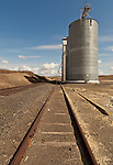This grain silo sits aside train tracks near the McCoy area in the Palouse of Eastern Washington