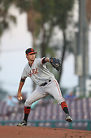 Tyler Beede (15) of the San Jose Giants pitches during a game against the Inland Empire 66ers at San Manuel Stadium on May 30, 2015 in San Bernardino, California. Inland Empire defeated San Jose, 6-4. (Larry Goren/Four Seam Images)
