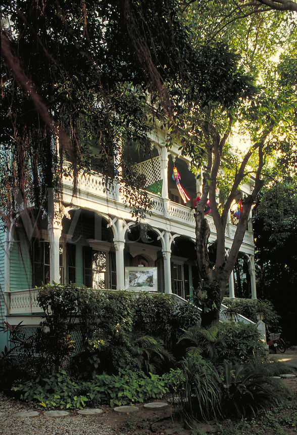 The historic Joseph Yates Porter House (pre 1847), on Duval Street in Key West Florida. architecture, landmarks. Key West Florida, Florida Keys.