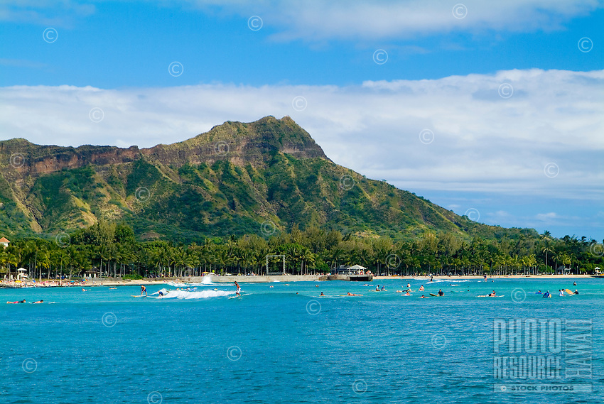 Famous Waikiki landmark Diamond Head taken from a sailboat off Waikiki.
