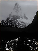 Night descends on Zermatt and the Matterhorn, Switzerland