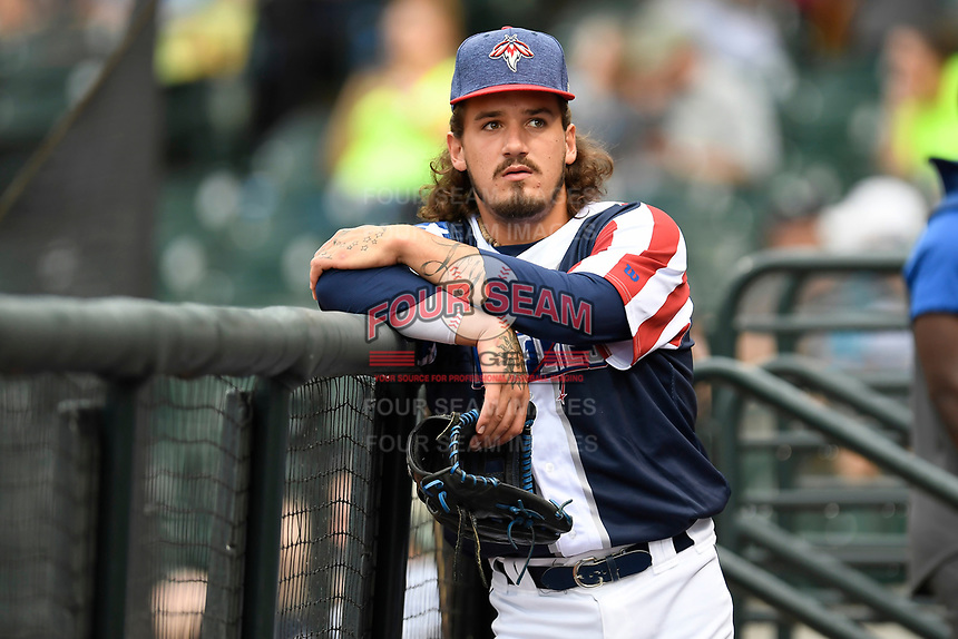Left fielder Jay Jabs (7) of the Columbia Fireflies in a game against the Rome Braves on Monday, July 3, 2017, at Spirit Communications Park in Columbia, South Carolina. Columbia won, 1-0. (Tom Priddy/Four Seam Images)