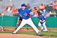 Tennessee Smokies starting pitcher Preston Morrison (19) delivers a pitch during a game against the Biloxi Shuckers at Smokies Stadium on May 26, 2017 in Kodak, Tennessee. The Smokies defeated the Shuckers 3-2. (Tony Farlow/Four Seam Images)