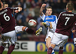 Hearts v St Johnstone.....05.03.13      SPL.Steven MacLean mishits a good goal scoring chance.Picture by Graeme Hart..Copyright Perthshire Picture Agency.Tel: 01738 623350  Mobile: 07990 594431