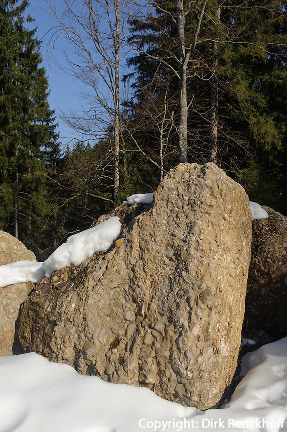 Nagelfluh-Felsen bei Alpe Bl&auml;sse bei Ofterschwang im Allg&auml;u, Bayern, Deutschland<br /> conglomerate stones near Alpe Bl&auml;sse, Ofterschwang. Bavaria, Germany