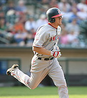 2007:  Brandon Moss of the Pawtucket Red Sox, Class-AAA affiliate of the Boston Red Sox, during the International League baseball season.  Photo by Mike Janes/Four Seam Images