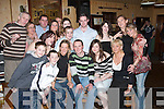 BON VOYAGE: A huge send off was given to Niamh OSullivan and Paul Kelly (front centre) who left for Australia on Monday. They celebrated with family and friends at The Swanky Bar, Tarbert, on Saturday night..