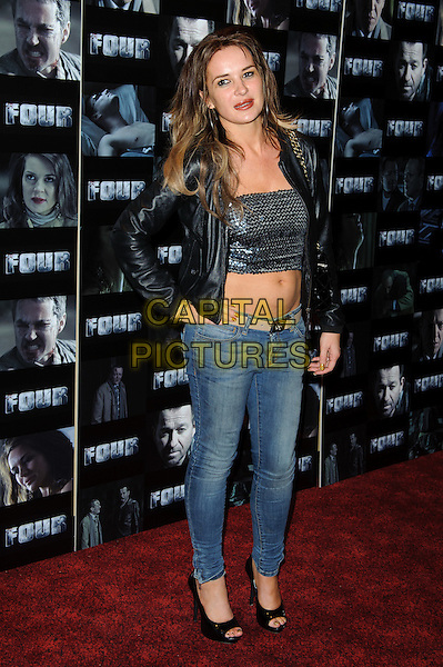 Kierston Wareing.UK premiere of 'Four' at The Empire Cinema - Arrivals, London, England..October 10th, 2011.full length black leather jacket sequins sequined top belly stomach midriff cropped jeans denim .CAP/CJ.©Chris Joseph/Capital Pictures.
