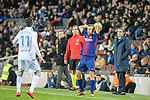 Jordi Alba of FC Barcelona (R) serves during the La Liga 2017-18 match between FC Barcelona and Deportivo La Coruna at Camp Nou Stadium on 17 December 2017 in Barcelona, Spain. Photo by Vicens Gimenez / Power Sport Images