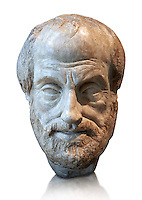 Roman bust of Greek philosopher Aristolte. 1st - 2nd century AD from Italy made of Pentilic Marble from Athens Greece. Aristotle lived around 384-322 BC and became the tutor of Alexander The Great. This bust was copied from a lost Greek bronze original by Lysippe (370-300BC) , sculptor to Alexander The Great. Traces of the original paint can be seen on the beard. From the Borghese collection Inv Mr or Ma 80 ,  Louvre Museum, Paris.